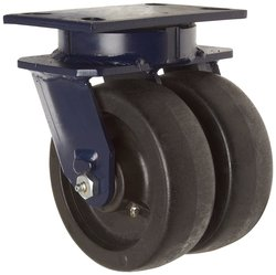 RWM Casters Plate Caster Dual Cast Iron Wheel Roller Bearing
