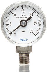 Wika Industrial Pressure Gauge Dry-Filled Stainless Steel 0-15 psi Range