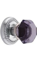Emtek Rosette Set with Amethyst Crystal Door Knobs Passage - Chrome