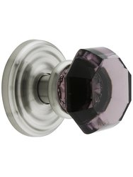 Emtek Rosette Set with Amethyst Crystal Door Knobs - Passage Satin Nickel