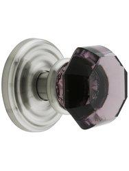 Emtek Rosette Set with Amethyst Crystal Door Knobs - Privacy Satin Nickel