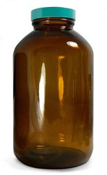 Qorpak Amber Glass Wide Mouth Packer Bottle Case of 96 - 10oz