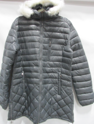Spire by Galaxy Women's Puffer Jacket with Fur Hood - Grey - Size: Large