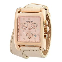 Michael Kors Ladies Double-Wrap Vachetta Chronograph Watch - Rose Gold