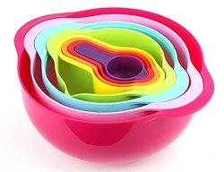 LeNest Compact Mixing Bowls - Multi-Color Food Preparation Set - 10 Piece