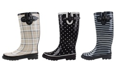Women's All-rubber Rain Boots: Black And White-polka Dots/10