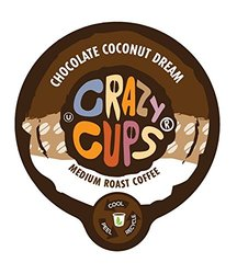 Crazy Cups Chocolate Coconut Dream Flavored Coffee Single Serve cups for Keurig K-cup Brewer, 22 K-cups