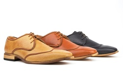 Royal Men's Brogue Wing-Tip Shoes-Camel-8 5