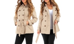 LC Trendz Women's 5-button Trench Coat - Beige - Size: Large