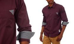 Something Strong Men's Long-Sleeve Shirt with Plaid Trim - Purple - XL