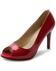 Ollio Women's Open Toe High Heel Enamel Basic Pump - Red - Size: 7.5