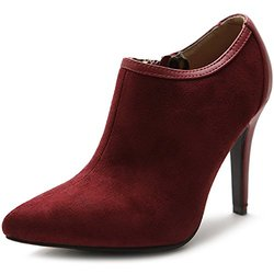 Ollio Women's High Heel Zip Faux Suede Boots - Burgundy - Size: 9