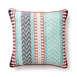 "Room Essentials Global Stripe Pillow - Red & Mint - Size: 18"" x 18"""