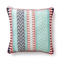 "Room Essentials Global Stripe Pillow - Red & Mint - Size: 18"" x 18"""