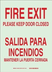 "Brady 90750 Glow-In-The-Dark Plastic Glow-In-The-Dark Safety Sign, 14"" X 10"", Legend ""Fire Exit Please Keep Door Closed/Salida Para Incendios Mantenga La Puerta Cerrada"""