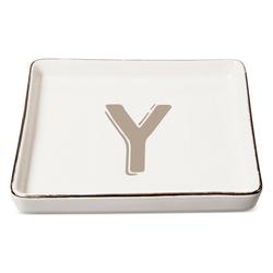 """Threshold """"Y"""" Monogram Ceramic Trinket Dish - White"""