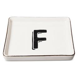 "Threshold ""F"" Printed Monogram Ceramic Trinket Dish - White"