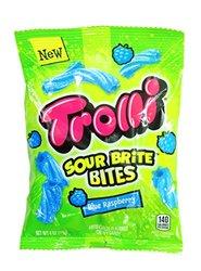 Trolli Sour Brite Bites Gummy Candy - Blue Raspberry - 4 Ounce Bag - 12 CT