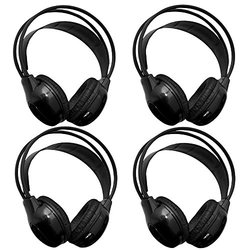 "[4 Pack] Autotain Car Headrest Audio Universal Wireless Ir ""2 Channel"" Headphones For Kids In Car For DVD TV Monitor Infrared Folding Adjustable Headset"