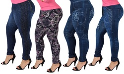 Women's Dark Wash Plus Size Jeggings: Floral Accent