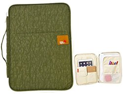 iSuperb A4 Documents Bag Multifunction Files Organizer Messenger iPad Handbag Storage for Travel Office 13.49.81.4 inch(Army Green)