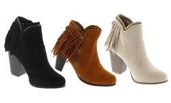 Mata Women's Suede Fringe Back Chunky Heel Ankle Booties: Beige/8.5