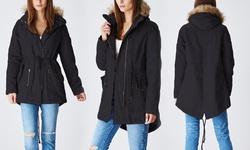 Lady Cotton Parka Jacket w/ Fur Lined Hood - Black - Size: Medium