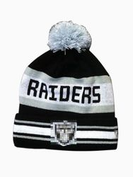 Women's NFL Oakland Raiders Cable Knit Headwear with Pom - Gray