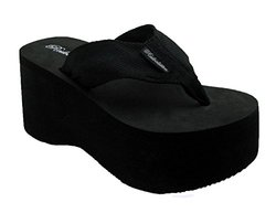Women s Cute & Chunky High Platform Wedge EVA Flip-flop Sandals (8, Black)