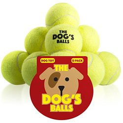 The Dog's Balls - 12 Tennis Balls, Premium, Strong Yellow Dog Tennis Balls, Dog Ball for Training, Play, Exercise & Fetch, Fits Chuckit Launchers. Bouncy Dog Tennis Balls for Your Dog or Puppy (Cats Too), No Squeaker, the King Kong of Dog Balls, Held