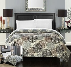 Chic Home 1 Piece Judith Boho Inspired Reversible Print Quilt Set, Twin, Beige