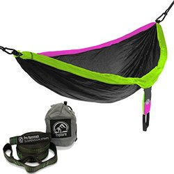 Explore Outfitters PRO Nylon Double Hammock - Gray/Purple/Green