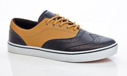 Adolfo Men's Lace-up Sneaker Oxford-5 - Black/Tan - Size: 10.5