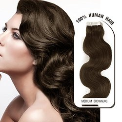 """Melodylocks 16"""" Tape in Remy Human Hair Extensions 40 Pieces(pcs), 100g, Wavy #4 Medium Brown"""