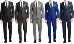 Joel Orris Men's Slim-fit 2-piece Suits: Cool Blue/46lx40w