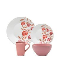 Oxford Porcelain 16-Piece Biona Delicate Dinnerware Set - Red