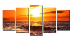 Wieco Art The Morning Sea 5 Panels Modern Stretched Canvas Prints Artwork