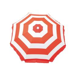 Rio Tilt Umbrella - White/Coral Stripe - Size: 6'