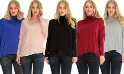Lyss Loo Fly On By Turtleneck Long Sleeve Dolman Top: Black - Large