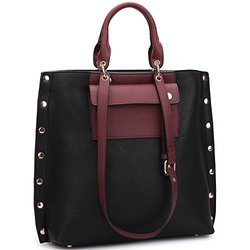 Dasein Women's Tote Handbag with Gold Snap Accents - Black/Wine