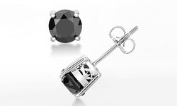 3.00 CTTW Black Diamond Stud Earrings In Solid Sterling Silver