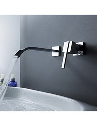 Contemporary Brass Waterfall Bathroom Sink Faucet - Chrome