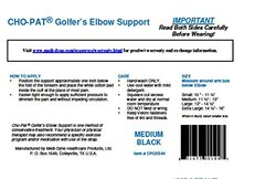 Cho-Pat Golfer's Elbow Support, Black, Medium, 9.5 - 11 inches
