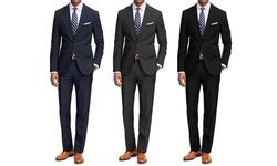 Braveman Men's 2-Piece Classic Fit Suit - Navy - Size: 42 L x 36 W