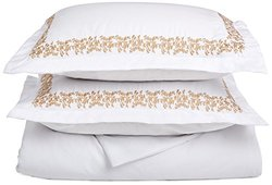 Super Soft Light Weight, 100% Brushed Microfiber, Wrinkle Resistant, King/California King Duvet Cover, White with Gold Floral Lace Embroidery Pillowshams in Gift Box