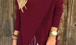 Long Sleeve Fringe Front Top: Burgundy/medium