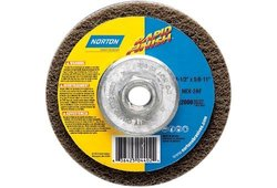 "Norton Bear-Tex Rapid Finish Depressed Center Abrasive Multi-Purpose Wheel, Type 27, Fiber Backing, 5/8""-11 Arbor, Silicon Carbide, 4-1/2"" Diameter (Pack of 10)"