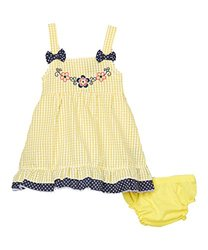 Sweet & Soft Yellow Seersucker Flower Dress - Newborn, Infant & Toddler (3T)