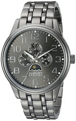 August Steiner Men's Quartz Sun moon Bracelet Watch ASGP8174BK