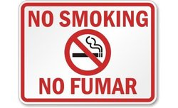 "18""x24"" Bilingual Legend ""No Smoking"" Aluminum Safety Sign - Blk/Rd/Wht"